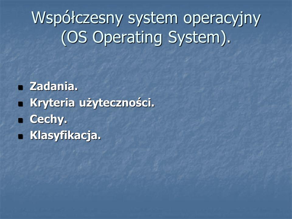 Współczesny system operacyjny (OS Operating System). Zadania. Zadania. Kryteria użyteczności. Kryteria użyteczności. Cechy. Cechy. Klasyfikacja. Klasy