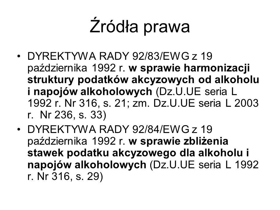 Źródła prawa DYREKTYWA RADY 92/83/EWG z 19 października 1992 r. w sprawie harmonizacji struktury podatków akcyzowych od alkoholu i napojów alkoholowyc