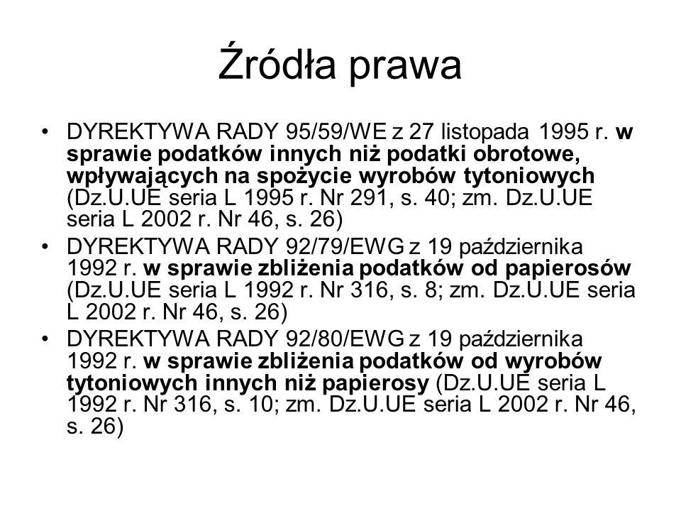 Źródła prawa DYREKTYWA RADY 95/59/WE z 27 listopada 1995 r.