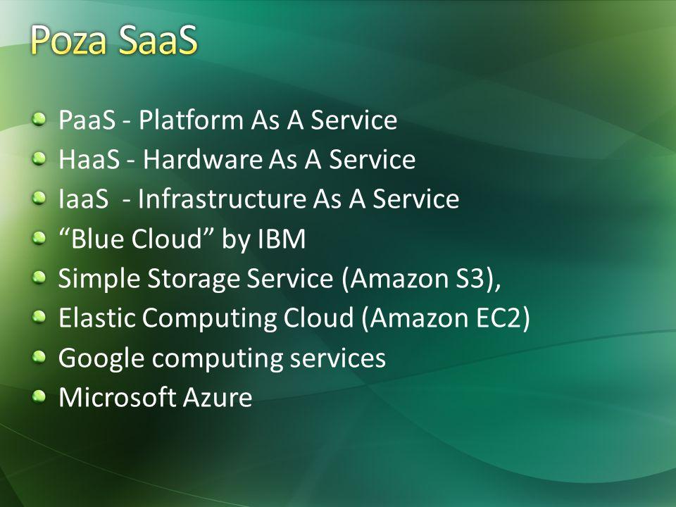 PaaS - Platform As A Service HaaS - Hardware As A Service IaaS - Infrastructure As A Service Blue Cloud by IBM Simple Storage Service (Amazon S3), Elastic Computing Cloud (Amazon EC2) Google computing services Microsoft Azure