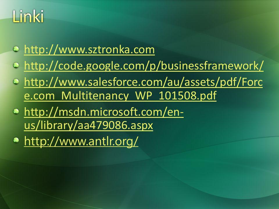 http://www.sztronka.com http://code.google.com/p/businessframework/ http://www.salesforce.com/au/assets/pdf/Forc e.com_Multitenancy_WP_101508.pdf http