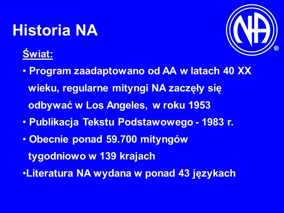 Historia NA Świat: Program zaadaptowano od AA w latach 40 XX wieku, regularne mityngi NA zaczęły się odbywać w Los Angeles, w roku 1953 Publikacja Tekstu Podstawowego - 1983 r.