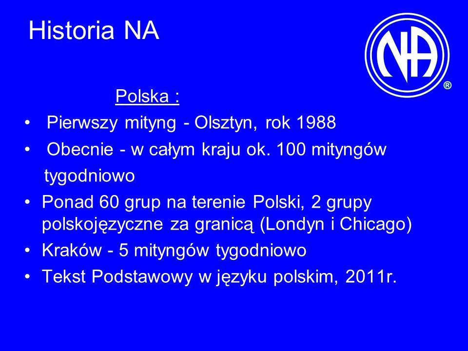 Historia NA Polska : Pierwszy mityng - Olsztyn, rok 1988 Obecnie - w całym kraju ok. 100 mityngów tygodniowo Ponad 60 grup na terenie Polski, 2 grupy