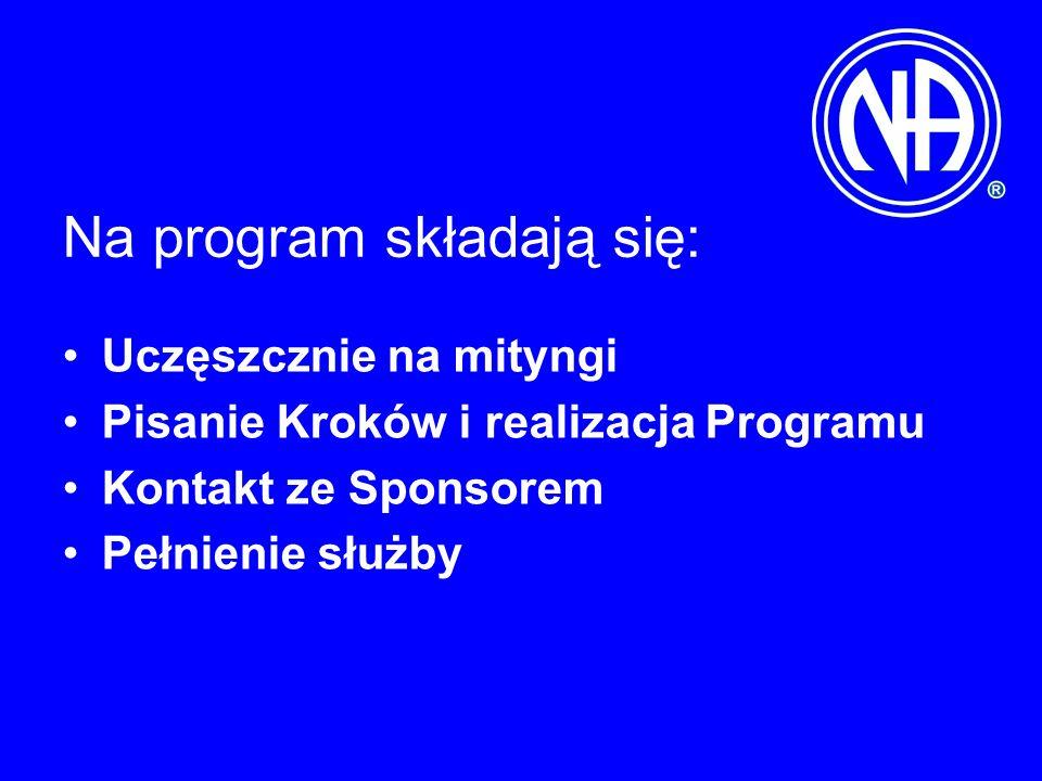 Na program składają się: Uczęszcznie na mityngi Pisanie Kroków i realizacja Programu Kontakt ze Sponsorem Pełnienie służby