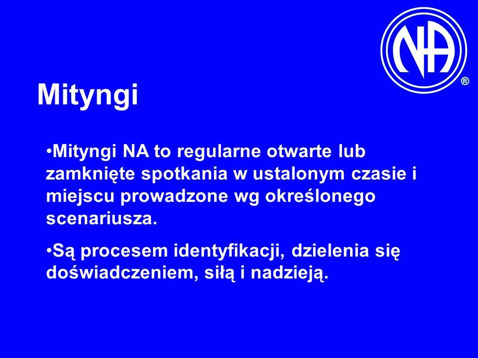 Mityngi Mityngi NA to regularne otwarte lub zamknięte spotkania w ustalonym czasie i miejscu prowadzone wg określonego scenariusza. Są procesem identy