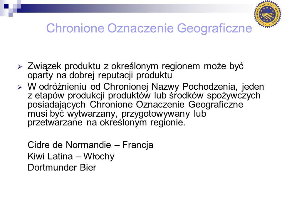 Chronione Oznaczenie Geograficzne Związek produktu z określonym regionem może być oparty na dobrej reputacji produktu W odróżnieniu od Chronionej Nazw