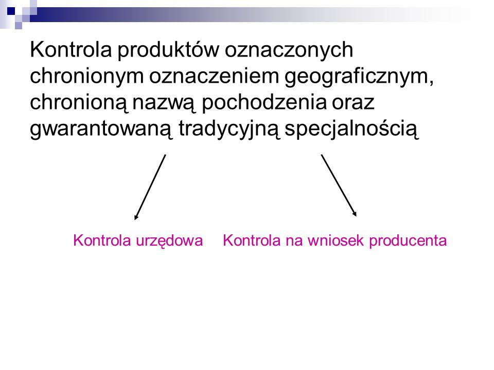 Kontrola produktów oznaczonych chronionym oznaczeniem geograficznym, chronioną nazwą pochodzenia oraz gwarantowaną tradycyjną specjalnością Kontrola u