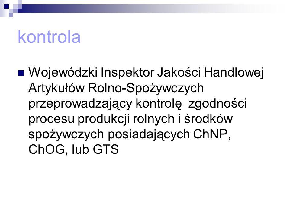 kontrola Wojewódzki Inspektor Jakości Handlowej Artykułów Rolno-Spożywczych przeprowadzający kontrolę zgodności procesu produkcji rolnych i środków sp