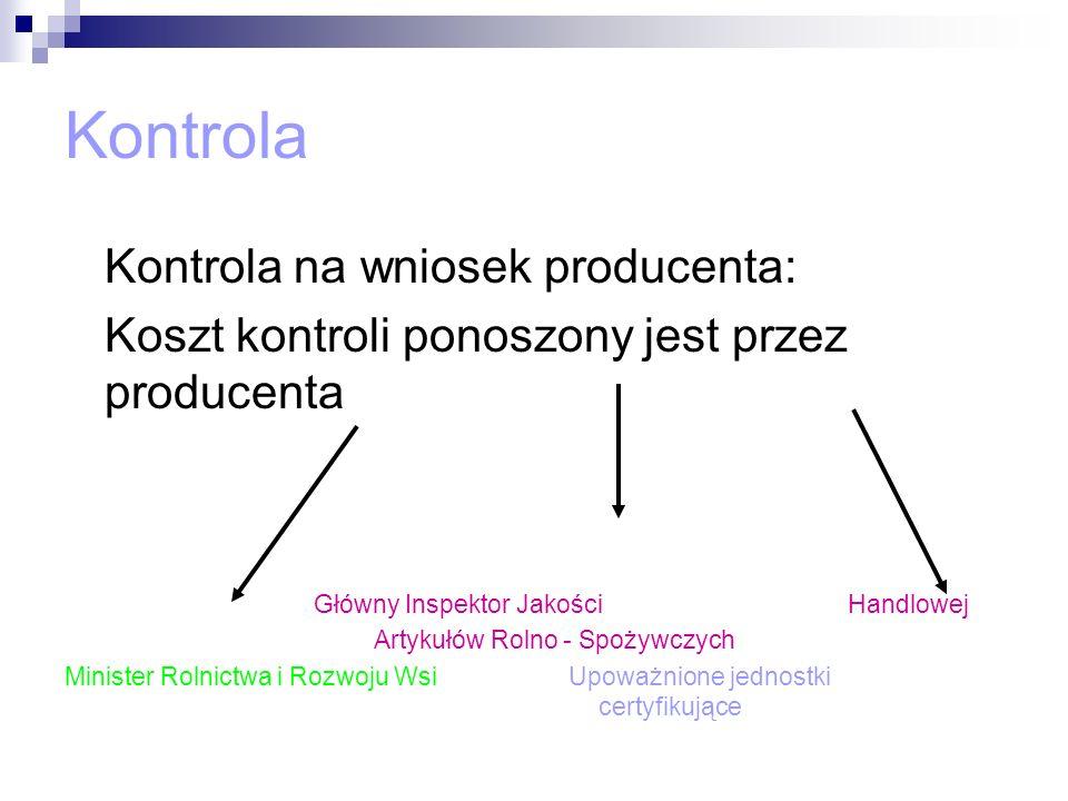 Kontrola Kontrola na wniosek producenta: Koszt kontroli ponoszony jest przez producenta Główny Inspektor Jakości Handlowej Artykułów Rolno - Spożywczy