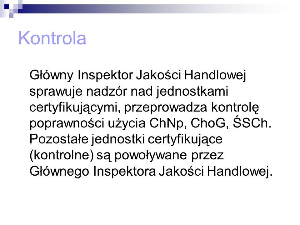 Kontrola Główny Inspektor Jakości Handlowej sprawuje nadzór nad jednostkami certyfikującymi, przeprowadza kontrolę poprawności użycia ChNp, ChoG, ŚSCh