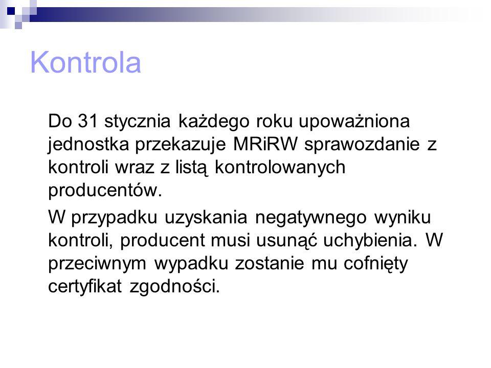 Kontrola Do 31 stycznia każdego roku upoważniona jednostka przekazuje MRiRW sprawozdanie z kontroli wraz z listą kontrolowanych producentów. W przypad