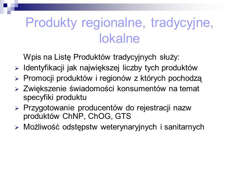 Produkty regionalne, tradycyjne, lokalne Wpis na Listę Produktów tradycyjnych służy: Identyfikacji jak największej liczby tych produktów Promocji prod