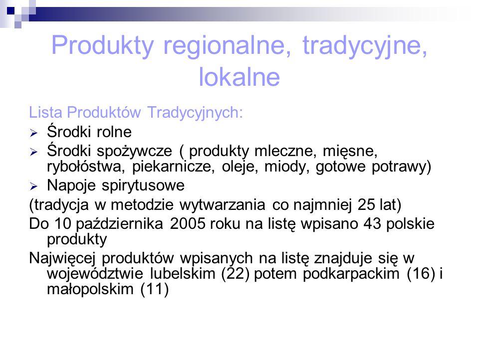 Produkty regionalne, tradycyjne, lokalne Lista Produktów Tradycyjnych: Środki rolne Środki spożywcze ( produkty mleczne, mięsne, rybołóstwa, piekarnic