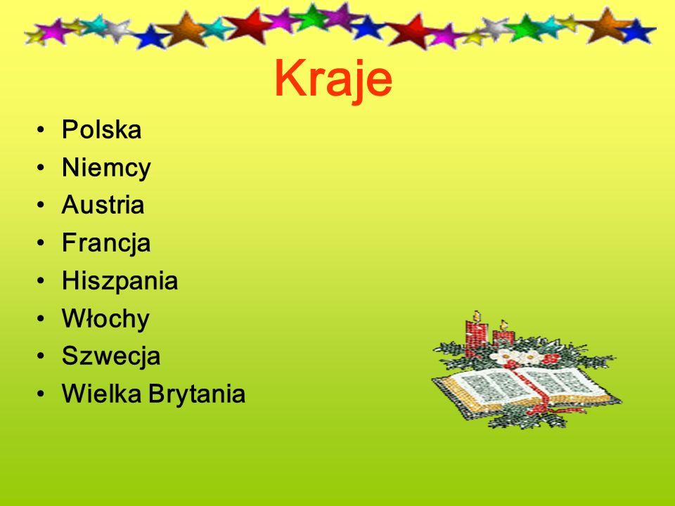 Kraje Polska Niemcy Austria Francja Hiszpania Włochy Szwecja Wielka Brytania