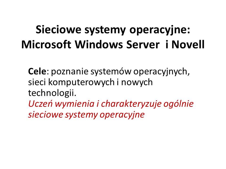 Sieciowe systemy operacyjne: Microsoft Windows Server i Novell Cele: poznanie systemów operacyjnych, sieci komputerowych i nowych technologii.