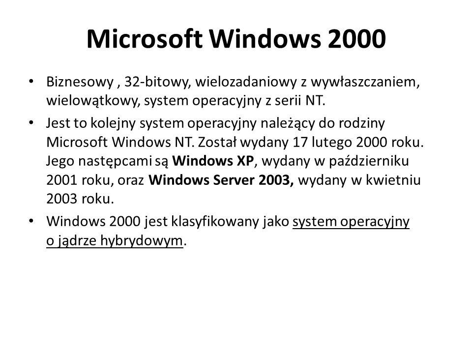Microsoft Windows 2000 Biznesowy, 32-bitowy, wielozadaniowy z wywłaszczaniem, wielowątkowy, system operacyjny z serii NT.