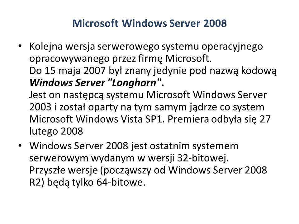 Microsoft Windows Server 2008 Kolejna wersja serwerowego systemu operacyjnego opracowywanego przez firmę Microsoft.