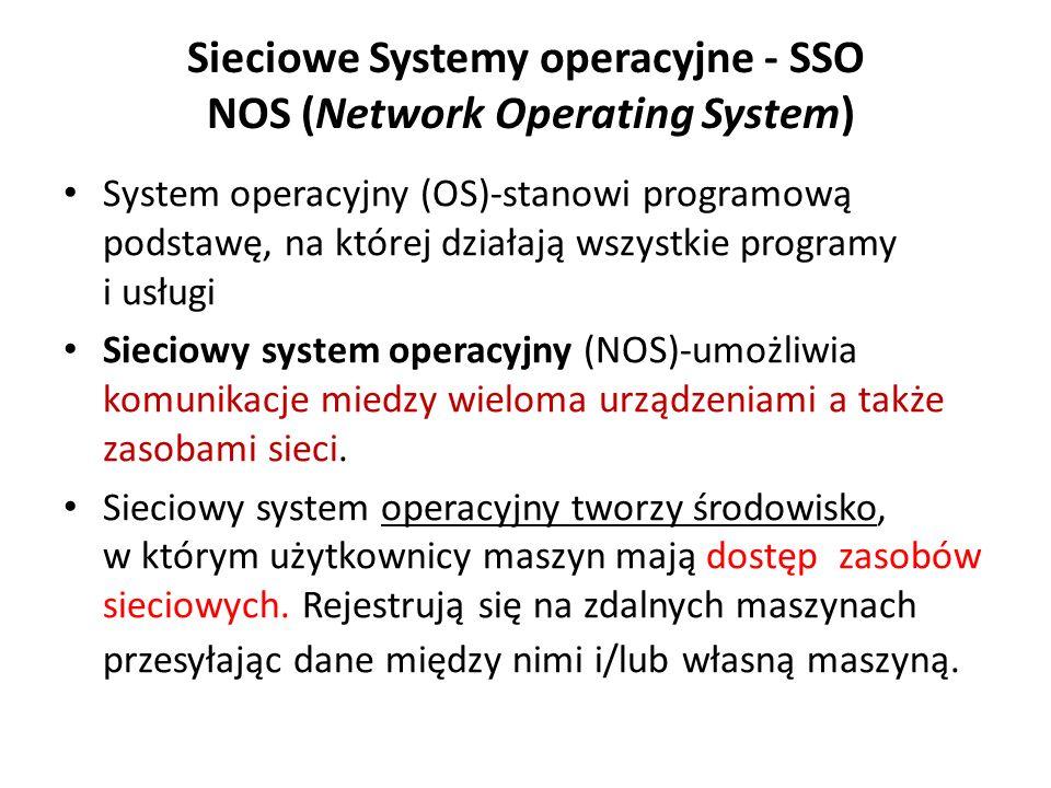 Sieciowe Systemy operacyjne - SSO NOS (Network Operating System) System operacyjny (OS)-stanowi programową podstawę, na której działają wszystkie programy i usługi Sieciowy system operacyjny (NOS)-umożliwia komunikacje miedzy wieloma urządzeniami a także zasobami sieci.