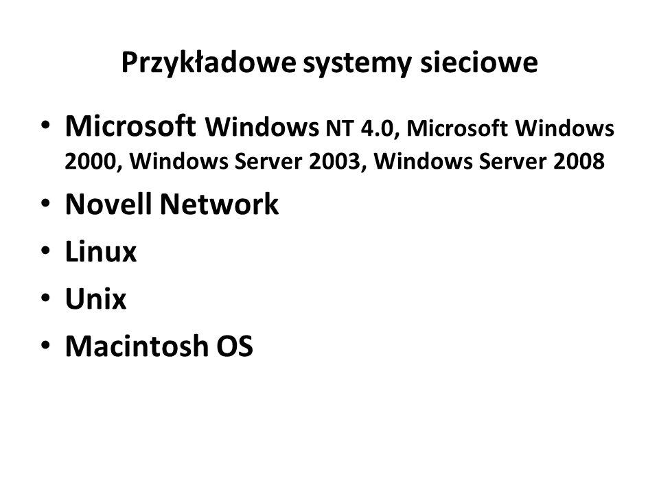 Przykładowe systemy sieciowe Microsoft Windows NT 4.0, Microsoft Windows 2000, Windows Server 2003, Windows Server 2008 Novell Network Linux Unix Macintosh OS