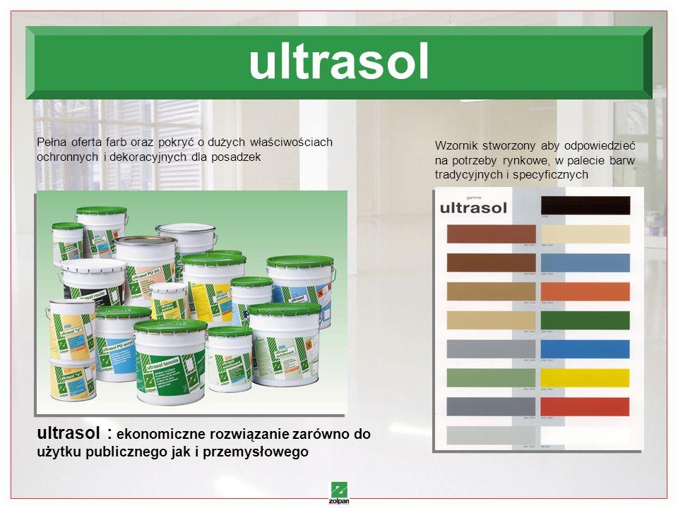 18 Wzornik stworzony aby odpowiedzieć na potrzeby rynkowe, w palecie barw tradycyjnych i specyficznych Pełna oferta farb oraz pokryć o dużych właściwościach ochronnych i dekoracyjnych dla posadzek ultrasol : ekonomiczne rozwiązanie zarówno do użytku publicznego jak i przemysłowego ultrasol
