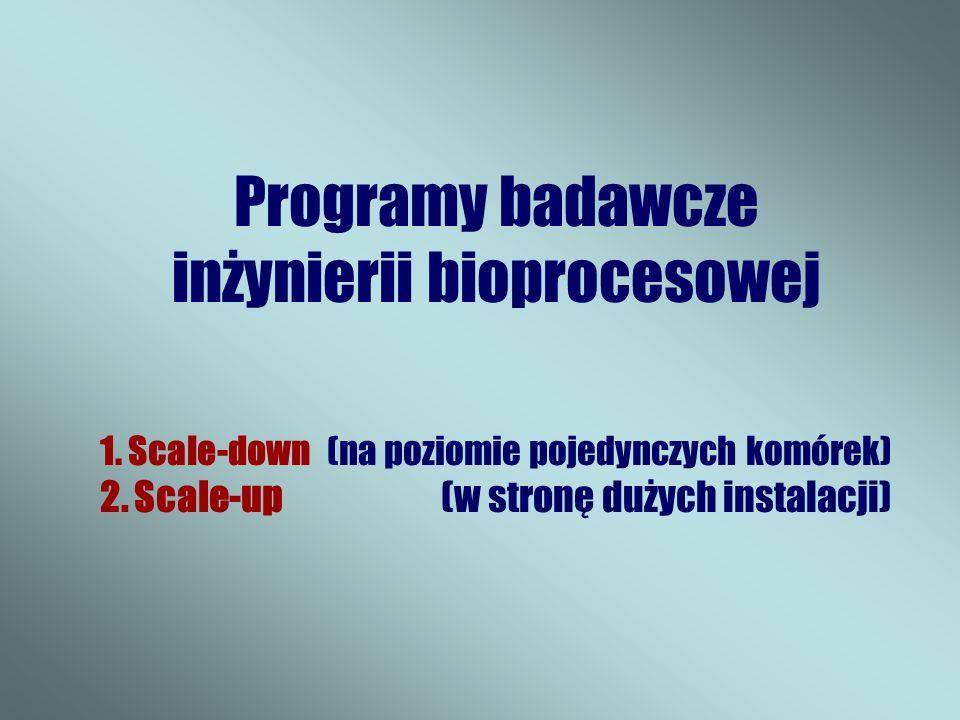 Programy badawcze inżynierii bioprocesowej 1.Scale-down (na poziomie pojedynczych komórek) 2.