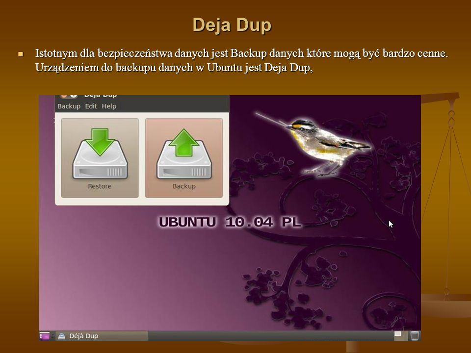Deja Dup Istotnym dla bezpieczeństwa danych jest Backup danych które mogą być bardzo cenne. Urządzeniem do backupu danych w Ubuntu jest Deja Dup, Isto