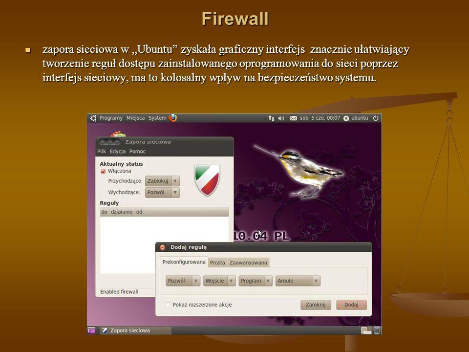 Firewall zapora sieciowa w Ubuntu zyskała graficzny interfejs znacznie ułatwiający tworzenie reguł dostępu zainstalowanego oprogramowania do sieci pop