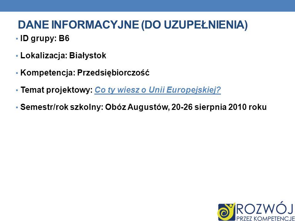 DANE INFORMACYJNE (DO UZUPEŁNIENIA) ID grupy: B6 Lokalizacja: Białystok Kompetencja: Przedsiębiorczość Temat projektowy: Co ty wiesz o Unii Europejski