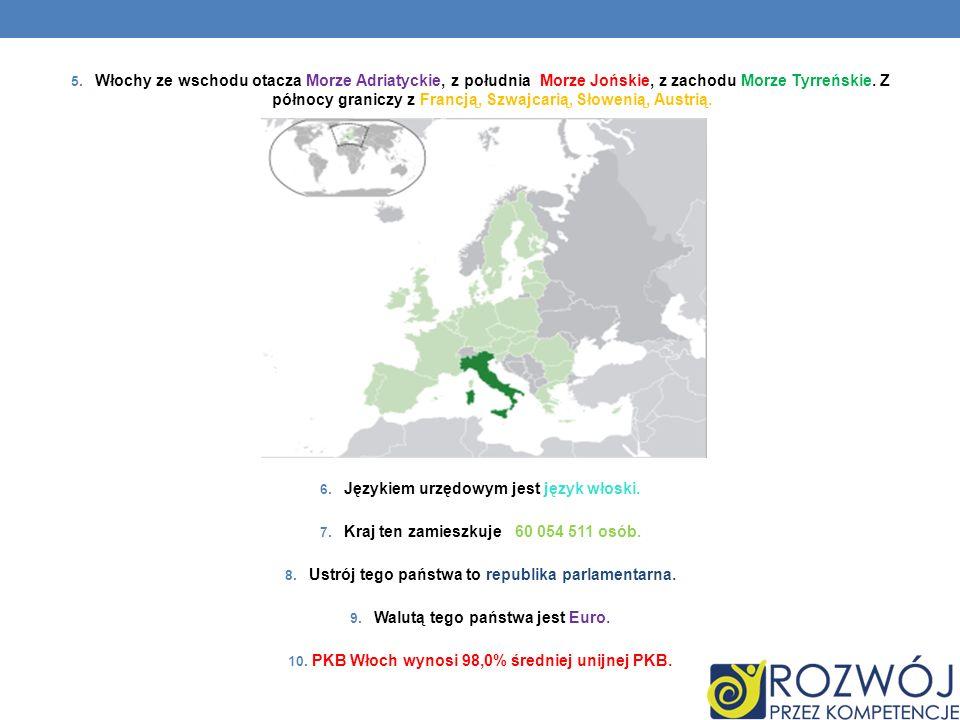 5. Włochy ze wschodu otacza Morze Adriatyckie, z południa Morze Jońskie, z zachodu Morze Tyrreńskie. Z północy graniczy z Francją, Szwajcarią, Słoweni