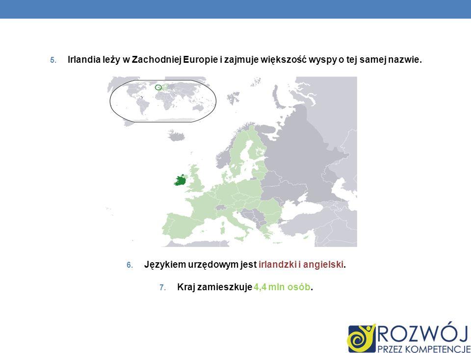 5. Irlandia leży w Zachodniej Europie i zajmuje większość wyspy o tej samej nazwie. 6. Językiem urzędowym jest irlandzki i angielski. 7. Kraj zamieszk