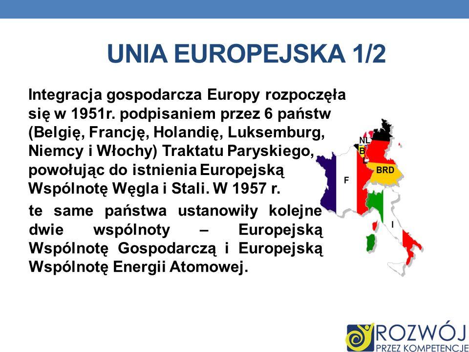 UNIA EUROPEJSKA 1/2 Integracja gospodarcza Europy rozpoczęła się w 1951r. podpisaniem przez 6 państw (Belgię, Francję, Holandię, Luksemburg, Niemcy i