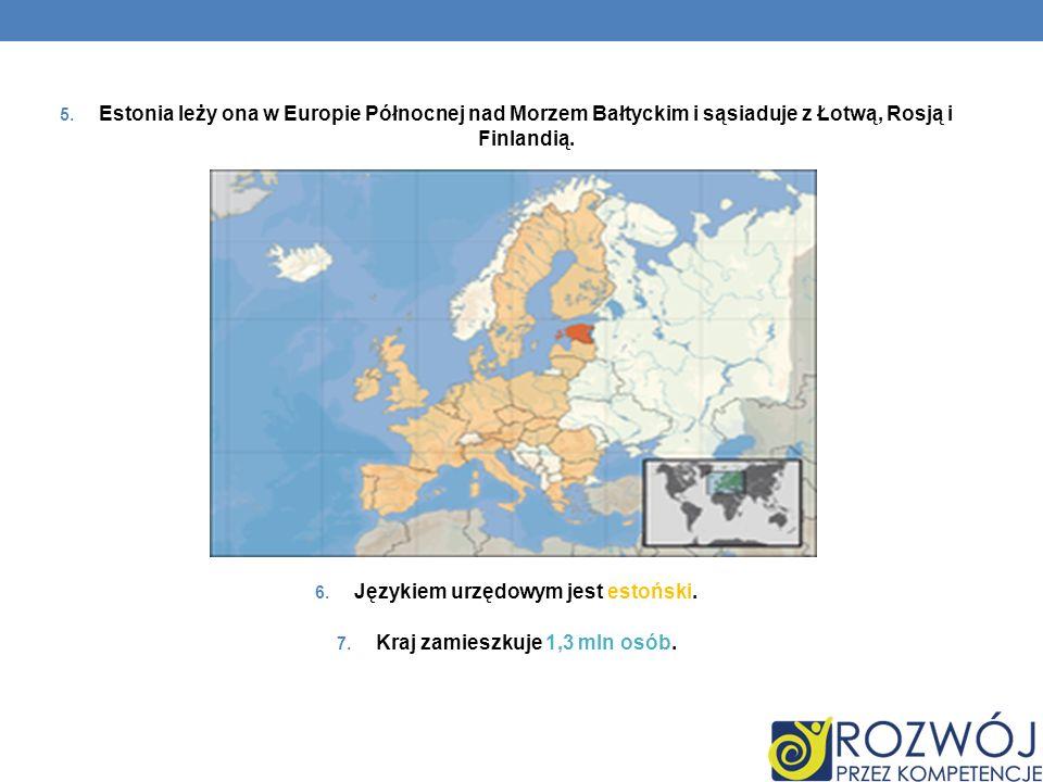 5. Estonia leży ona w Europie Północnej nad Morzem Bałtyckim i sąsiaduje z Łotwą, Rosją i Finlandią. 6. Językiem urzędowym jest estoński. 7. Kraj zami
