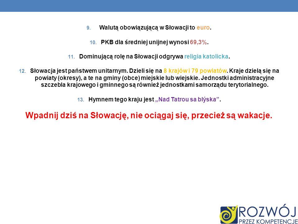 9. Walutą obowiązującą w Słowacji to euro. 10. PKB dla średniej unijnej wynosi 69,3%. 11. Dominującą rolę na Słowacji odgrywa religia katolicka. 12. S