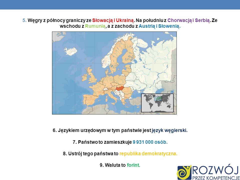 5. Węgry z północy graniczy ze Słowacją i Ukrainą. Na południu z Chorwacją i Serbią. Ze wschodu z Rumunią, a z zachodu z Austrią i Słowenią. 6. Języki