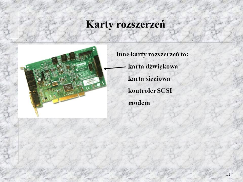 11 Karty rozszerzeń Inne karty rozszerzeń to: karta dźwiękowa karta sieciowa kontroler SCSI modem