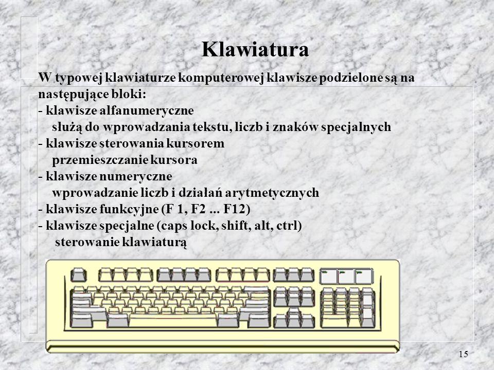 15 Klawiatura W typowej klawiaturze komputerowej klawisze podzielone są na następujące bloki: - klawisze alfanumeryczne służą do wprowadzania tekstu,