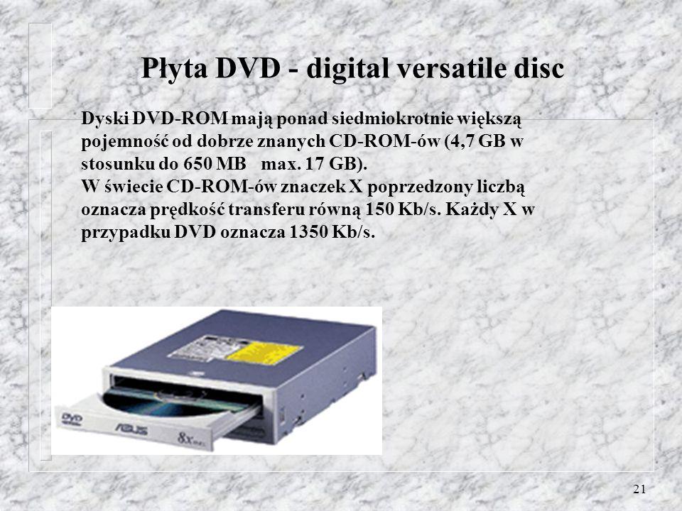 21 Płyta DVD - digital versatile disc Dyski DVD-ROM mają ponad siedmiokrotnie większą pojemność od dobrze znanych CD-ROM-ów (4,7 GB w stosunku do 650