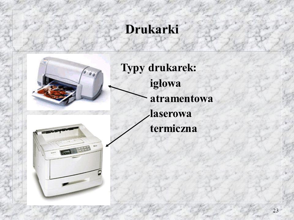 23 Drukarki Typy drukarek: igłowa atramentowa laserowa termiczna