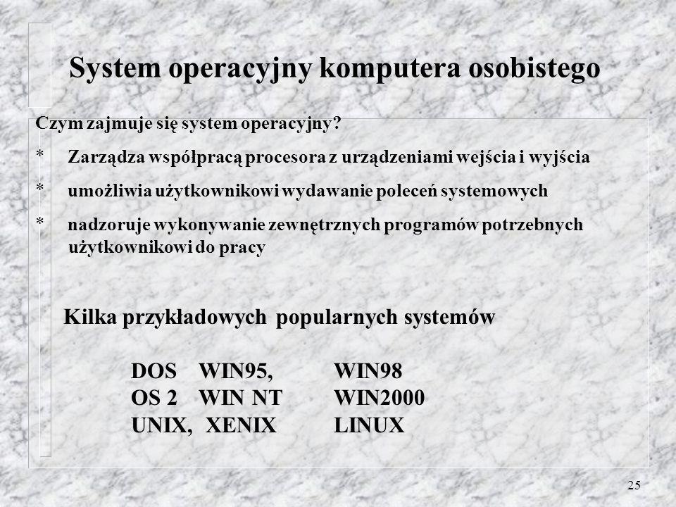 25 Czym zajmuje się system operacyjny? * Zarządza współpracą procesora z urządzeniami wejścia i wyjścia * umożliwia użytkownikowi wydawanie poleceń sy