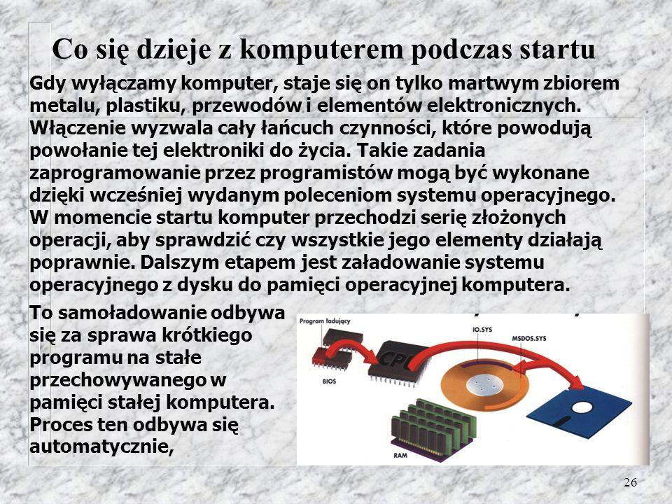 26 Gdy wyłączamy komputer, staje się on tylko martwym zbiorem metalu, plastiku, przewodów i elementów elektronicznych. Włączenie wyzwala cały łańcuch