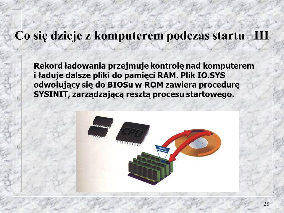 28 Rekord ładowania przejmuje kontrolę nad komputerem i ładuje dalsze pliki do pamięci RAM. Plik IO.SYS odwołujący się do BIOSu w ROM zawiera procedur