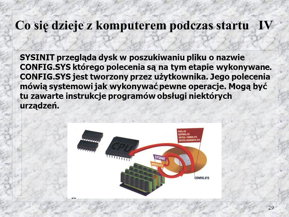 29 SYSINIT przegląda dysk w poszukiwaniu pliku o nazwie CONFIG.SYS którego polecenia są na tym etapie wykonywane. CONFIG.SYS jest tworzony przez użytk