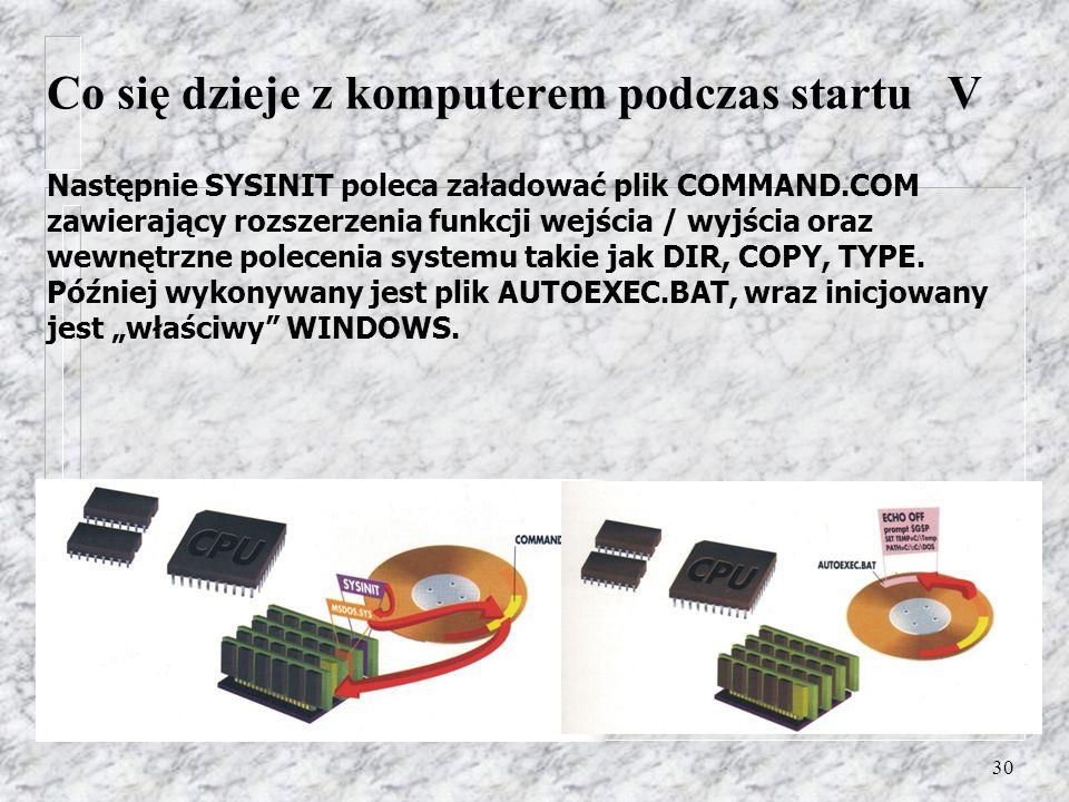 30 Następnie SYSINIT poleca załadować plik COMMAND.COM zawierający rozszerzenia funkcji wejścia / wyjścia oraz wewnętrzne polecenia systemu takie jak