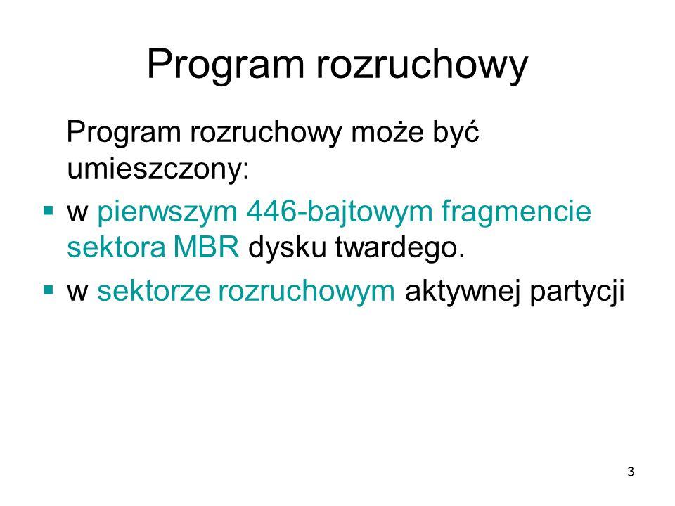 3 Program rozruchowy Program rozruchowy może być umieszczony: w pierwszym 446-bajtowym fragmencie sektora MBR dysku twardego. w sektorze rozruchowym a