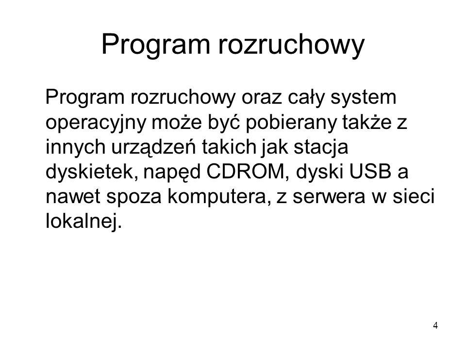 4 Program rozruchowy Program rozruchowy oraz cały system operacyjny może być pobierany także z innych urządzeń takich jak stacja dyskietek, napęd CDRO