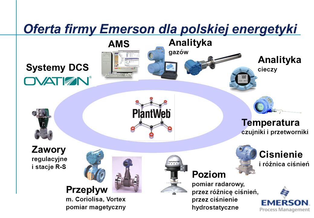 System OVATION (bloki energetyczne) –szybka sieć systemowa o wysokiej wydajności nie dopuszczająca do utraty danych –pełna podwójna rezerwacja kontrolerów –kontrolery z architekturą Industrial PC, szyną PCI i procesorami Pentium –baza danych: Oracle –dwie linie stacji roboczych: PC/Win i Sun/Unix –sprawne narzędzia programowe na bazie Auto CAD z bogatą biblioteką algorytmów dla energ.