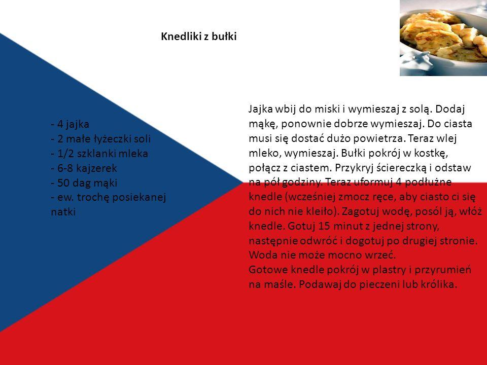 Czesi mają bardzo podobne upodobania kulinarne co Bawarczycy, Austriacy, Węgrzy czy Ślązacy czyli mięsa i ciężkie sosy popijane piwem Dla Czecha obiad