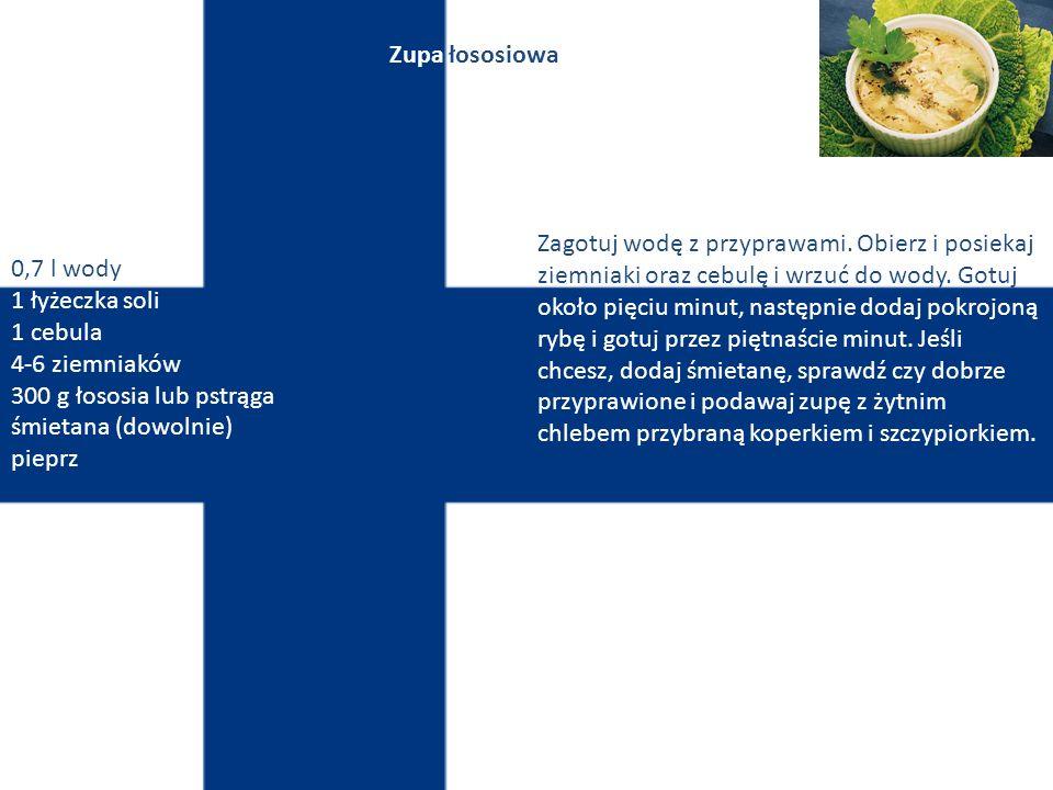 Finlandia Sztuka kulinarna tego państwa oparta jest głównie na różnego rodzaju mięsach i rybach. Finowie jedzą stosunkowo niewiele warzyw. W Finlandii