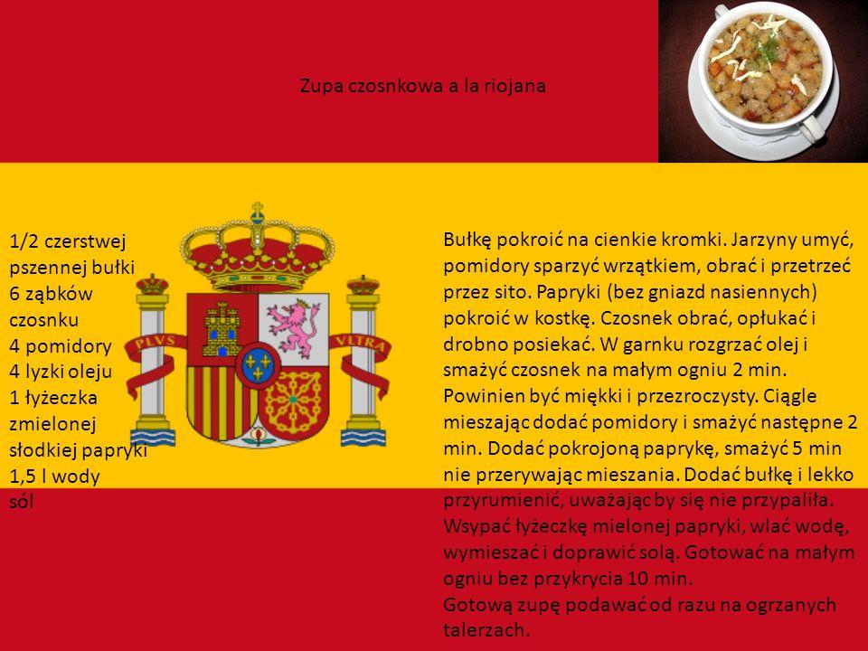 Hiszpania Kuchnia hiszpańska to właściwie wiele całkiem odmiennych kuchni regionalnych. Najsłynniejsze są: baskijska, galicyjska, katalońska, walencka