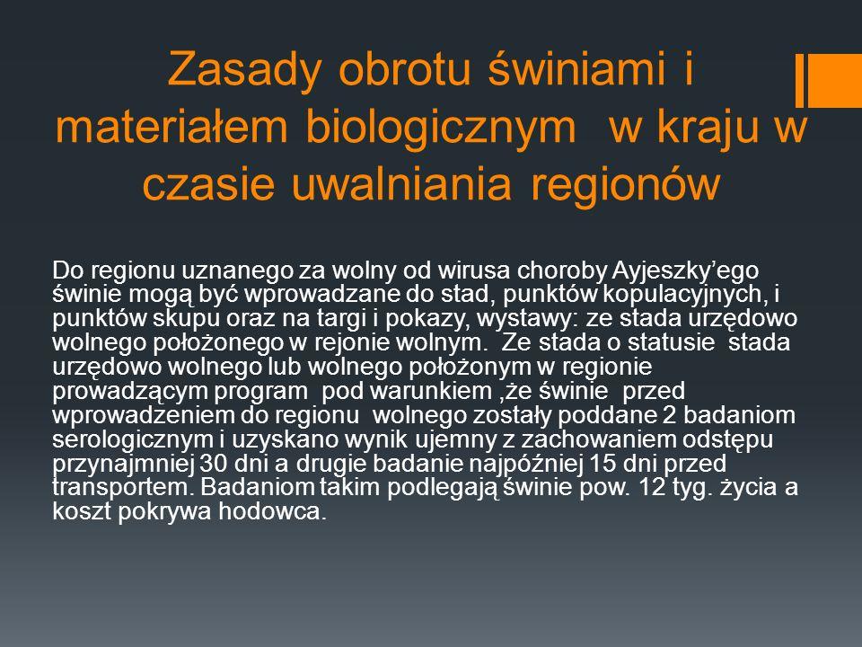 Zasady obrotu świniami i materiałem biologicznym w kraju w czasie uwalniania regionów Do regionu uznanego za wolny od wirusa choroby Ayjeszkyego świni